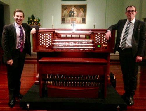 International concert organists Alessandro Pittorino (left) and Oliver Brett with the new Rodgers 356B.